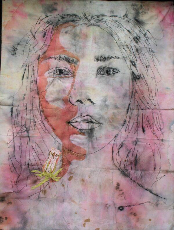 Almost, textile portrait Marjan van Holthe