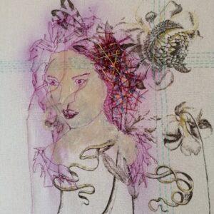 Fly away mixed media portrait Marjan van Holthe